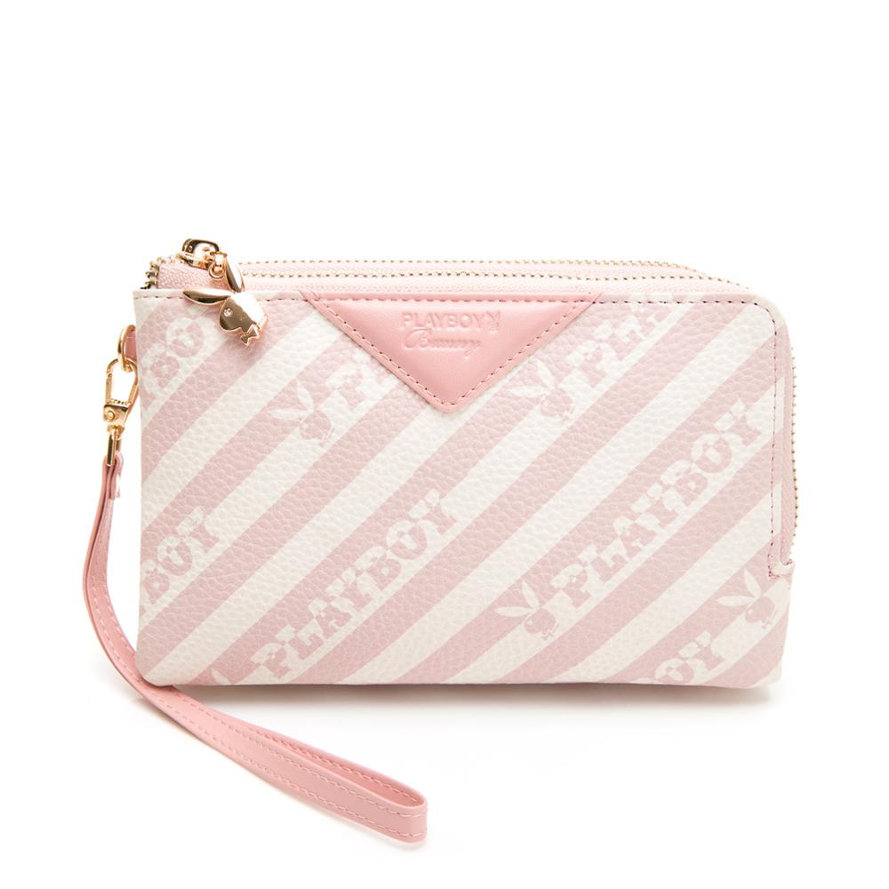 PLAYBOY- 雙層萬用包附手挽帶 粉潮流系列 -粉色