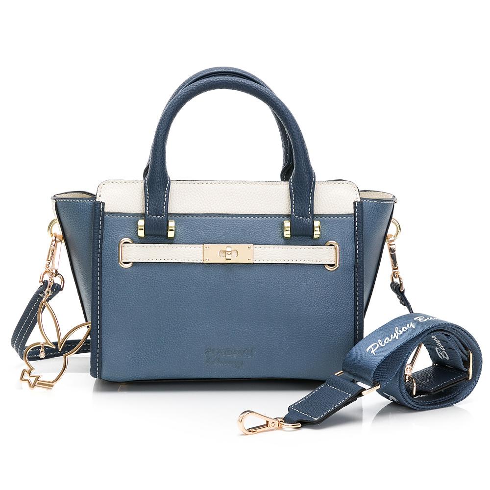 PLAYBOY- 手提包-附長背帶/寬背帶 摩登都市系列 -藍色