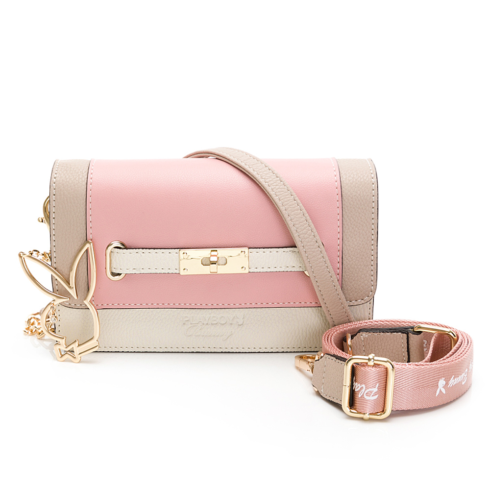PLAYBOY- 斜背包-附寬背帶 摩登都市系列 -粉色