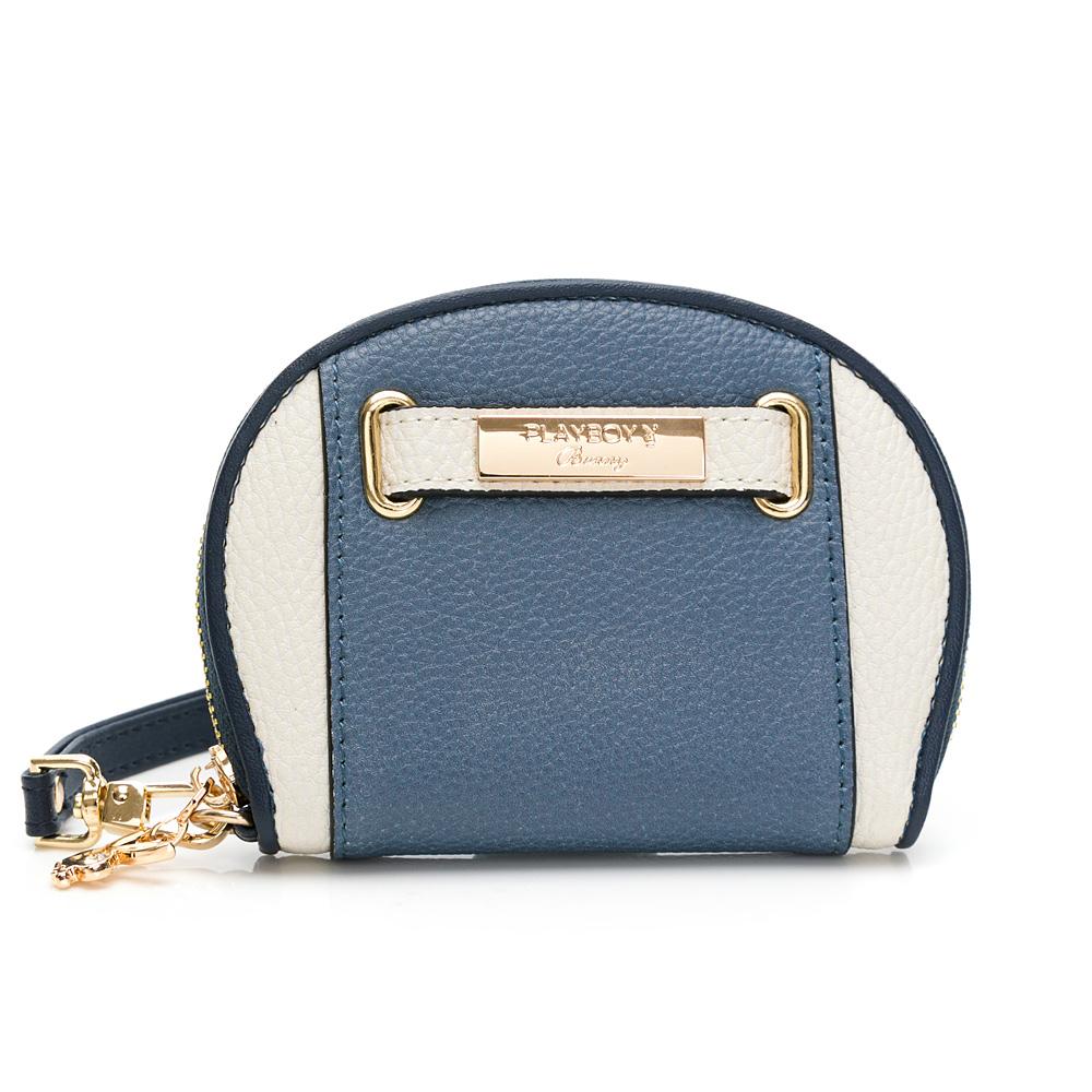 PLAYBOY- 零錢包-附手挽帶 摩登都市系列 -藍色
