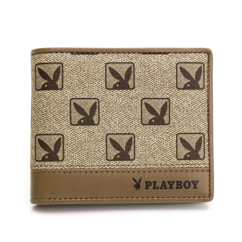 PLAYBOY-中翻短夾 復刻摩登Hotshot系列 - 咖啡色