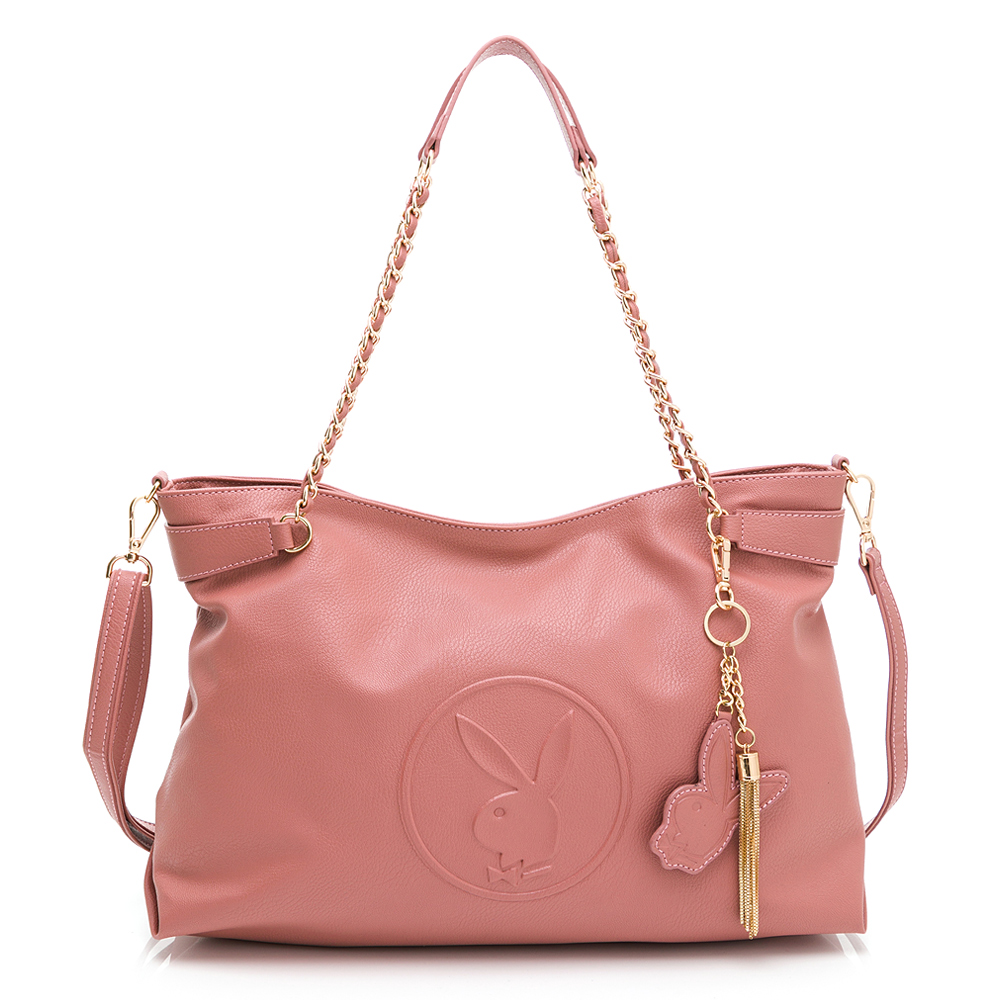 PLAYBOY- 鍊帶托特包附長背帶 BUNNY QUEEN系列-玫瑰粉色