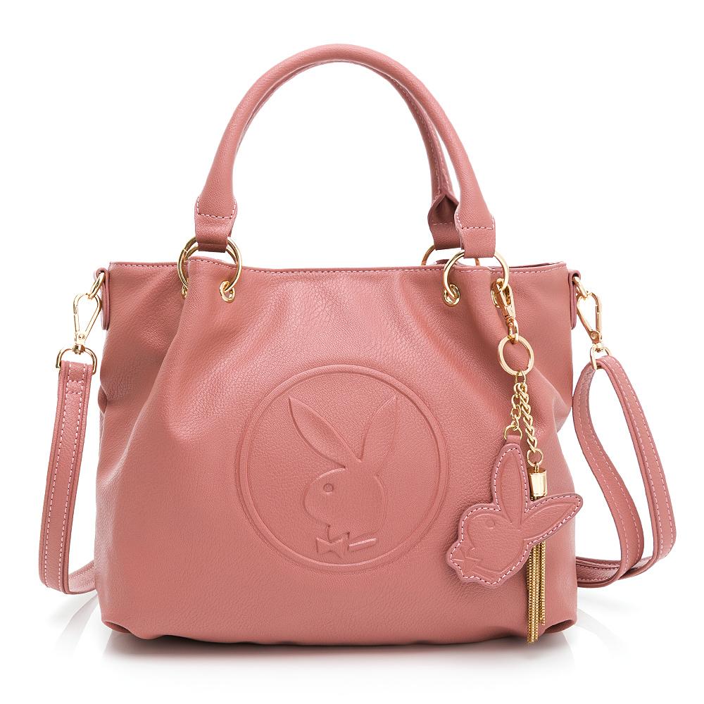 PLAYBOY- 手提包附長背帶 BUNNY QUEEN系列-玫瑰粉色
