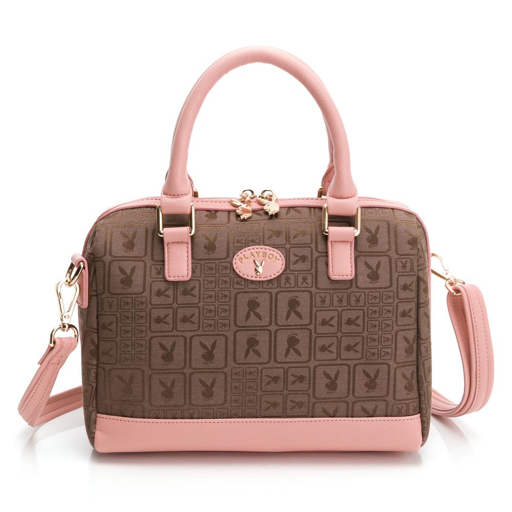 PLAYBOY- 手提包附長背帶 kalos系列-粉膚色