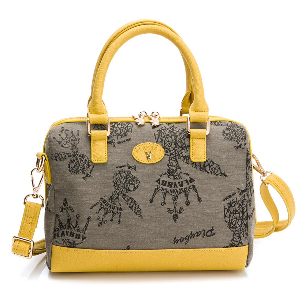 PLAYBOY- 手提包附長背帶 kalos系列-黃色