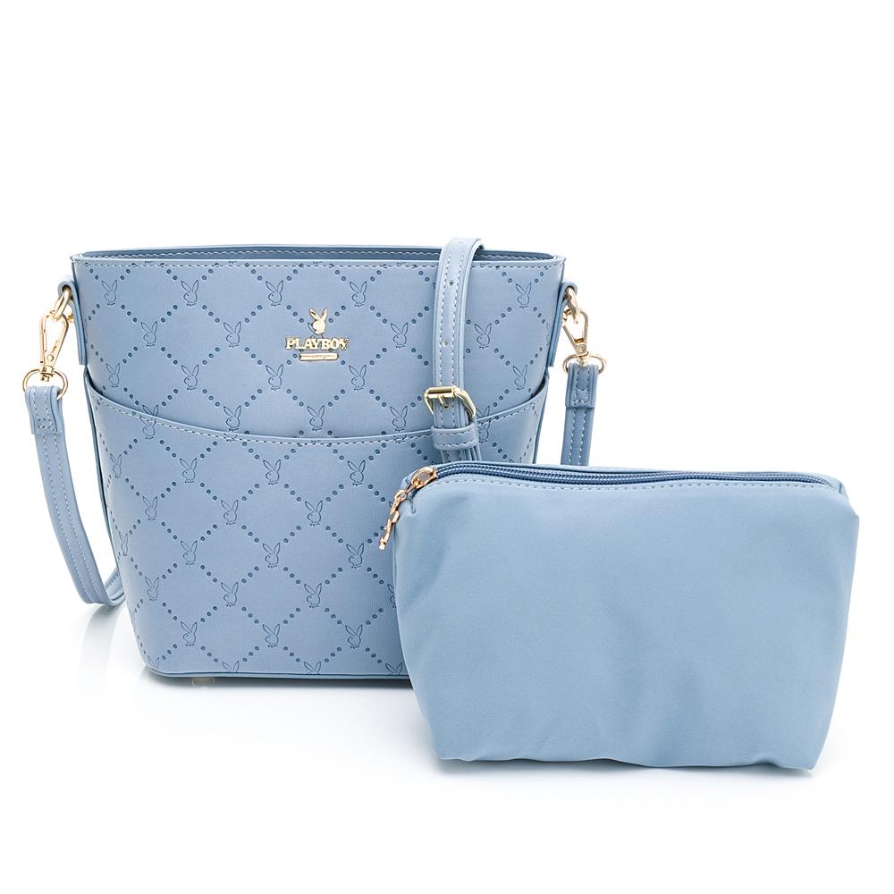 PLAYBOY-  水桶包附長背帶 點點兔系列-淡藍色