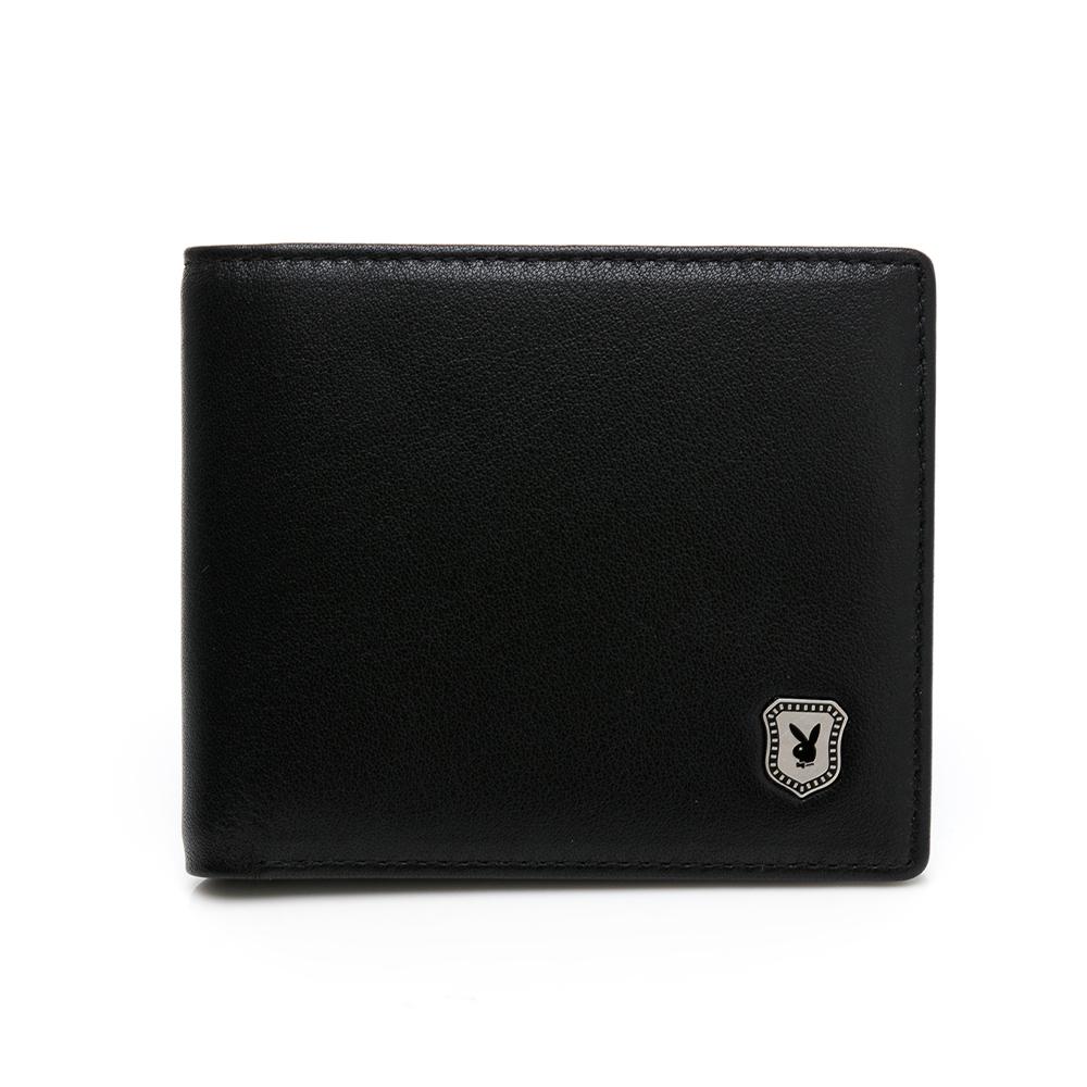 PLAYBOY-短夾附零錢袋  盾牌兔系列- 黑色