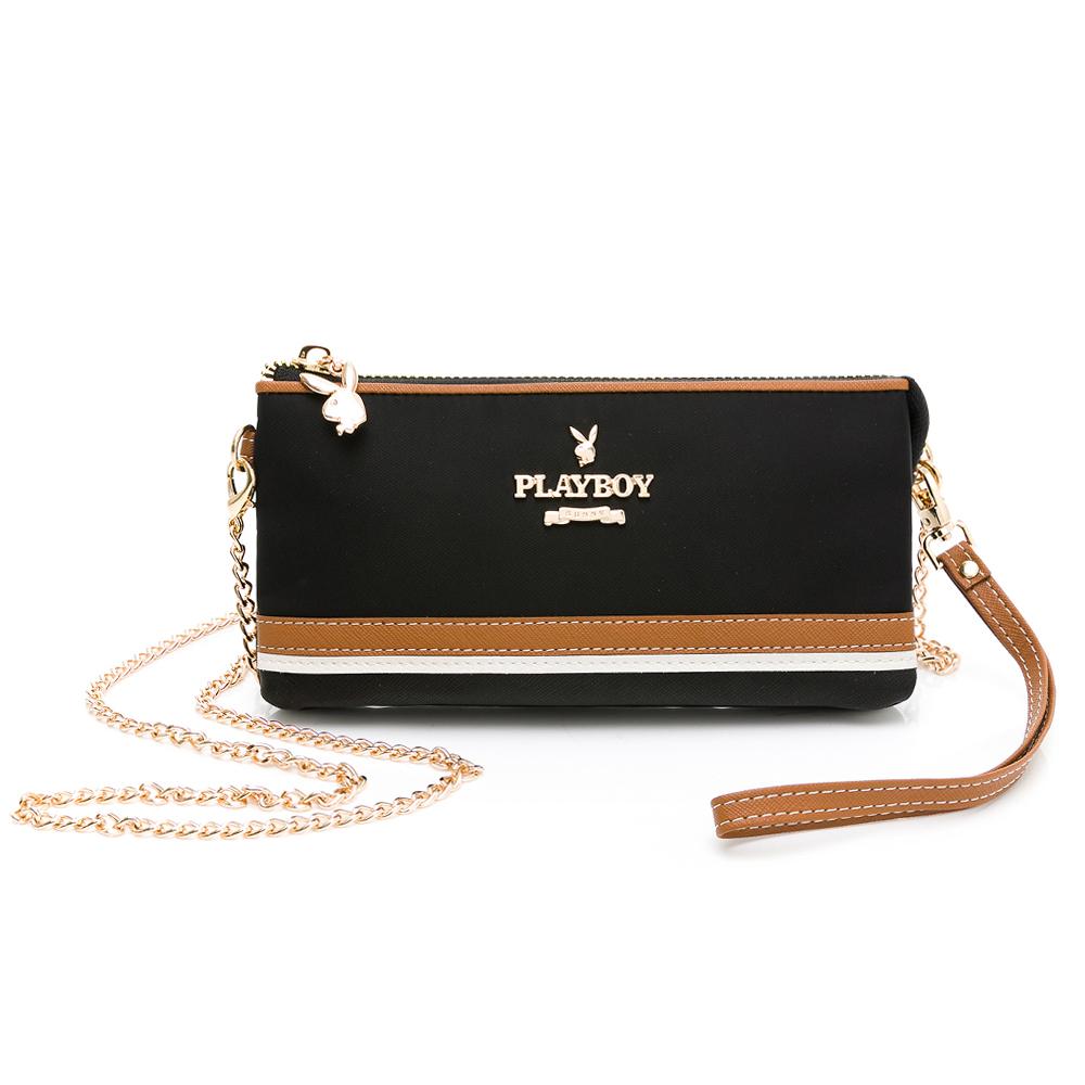 PLAYBOY-  萬用包附手挽帶及鍊帶 質感玩家3.0系列 -黑色