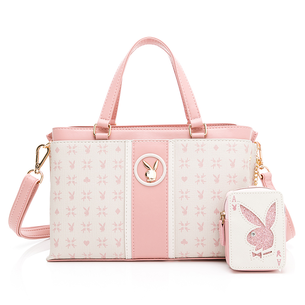 PLAYBOY -  小手提包附長背帶 Bunny Poker 撲克甜心系列 - 粉色