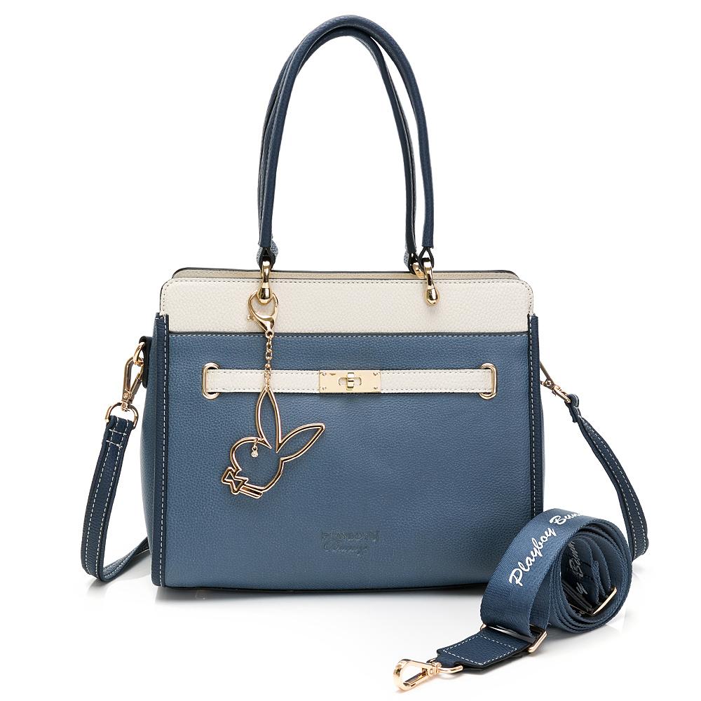 PLAYBOY - 方形手提包-附長背帶/寬背帶 摩登都市系列 - 藍色