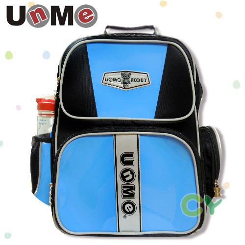 【UnMe機器人】亮面馬卡色後背書包/藍色