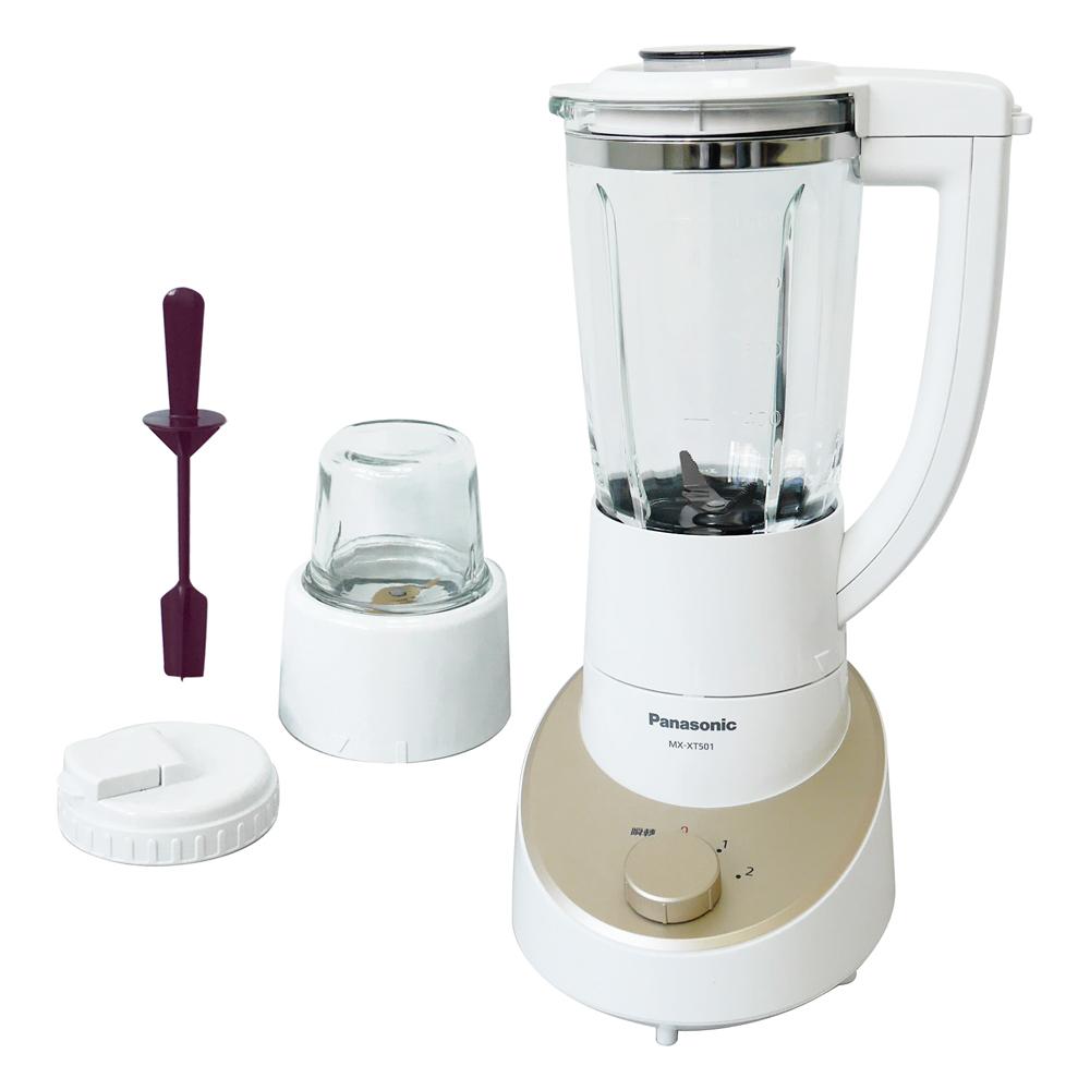 *加碼贈保鮮罐SP1812*Panasonic國際牌1300ml玻璃杯果汁機(附研磨杯) MX-XT501質感金N