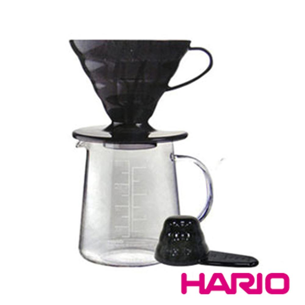 【HARIO】V60黑色樹脂濾杯咖啡壺組 ESD-02TB-EX-M 加贈鵨子濾紙20入