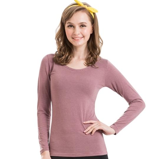 【思薇爾】柔棉吸濕M-XL橫紋圓領發熱衣(赤褐色)