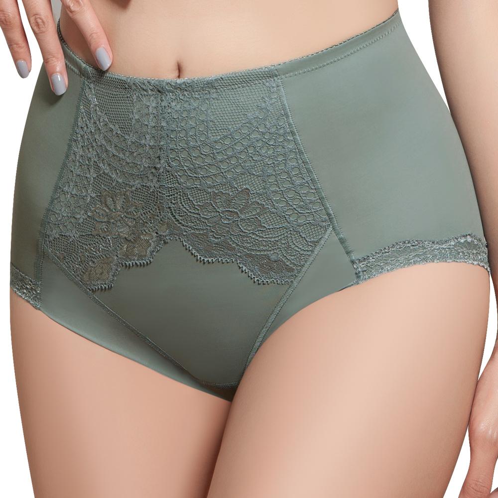 【思薇爾】挺美力系列M-XXL蕾絲高腰三角修飾褲(倫敦灰)