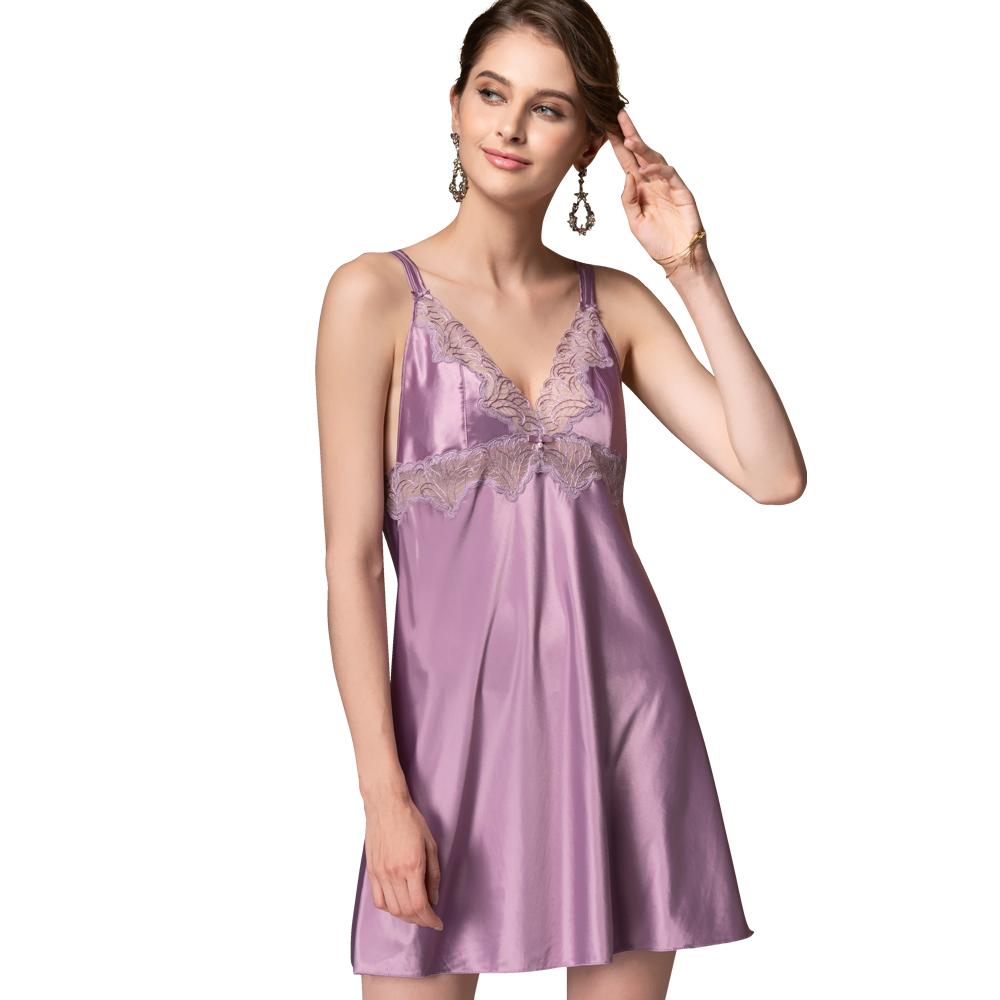 【思薇爾】香榭巴黎系列連身蕾絲性感小夜衣(莫蘭紫)