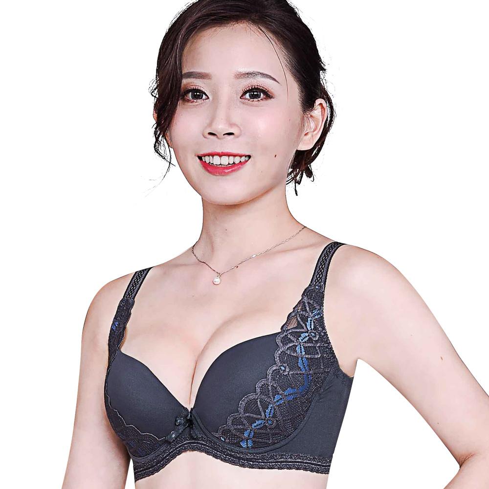 【思薇爾】美波曲線系列C-F罩模杯蕾絲包覆塑身內衣(墨綠灰)