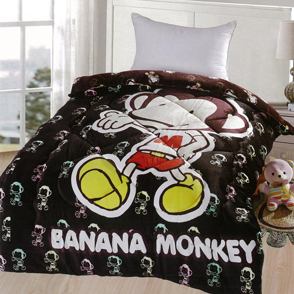 Banana Monkey法蘭絨冬被-黑色幽默猴