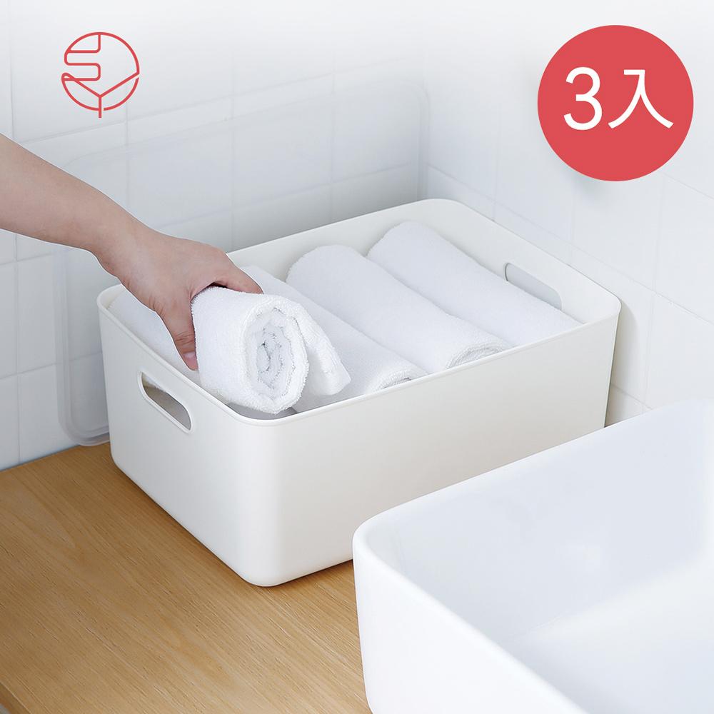 本月特談【日本霜山】無印風霧面附蓋把手收納盒-M-3入