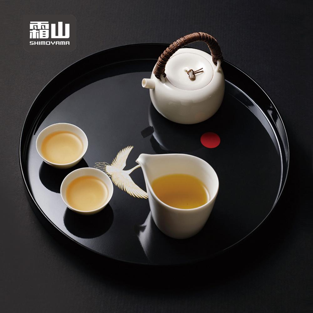 【日本霜山】和風白鶴圓形仿瓷托盤/茶盤/點心盤