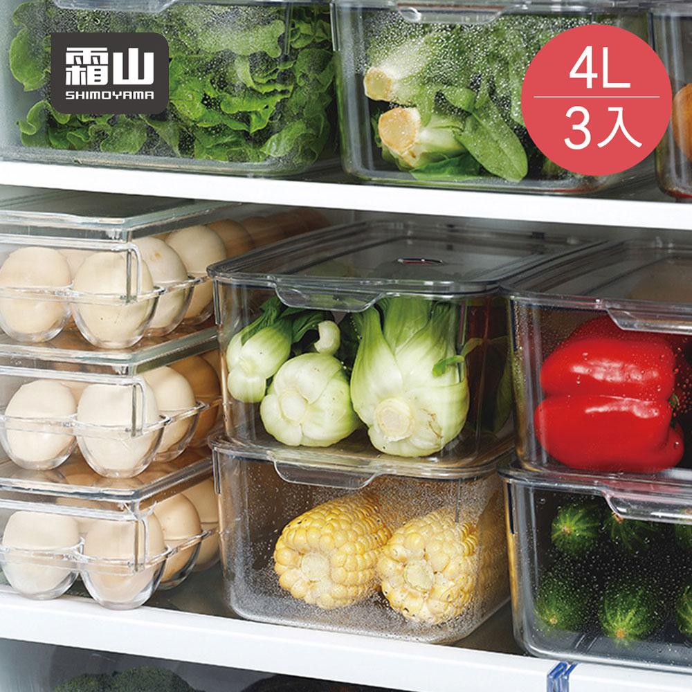 【日本霜山】廚房冰箱PET蔬果生鮮收納盒(附蓋)-4L-3入