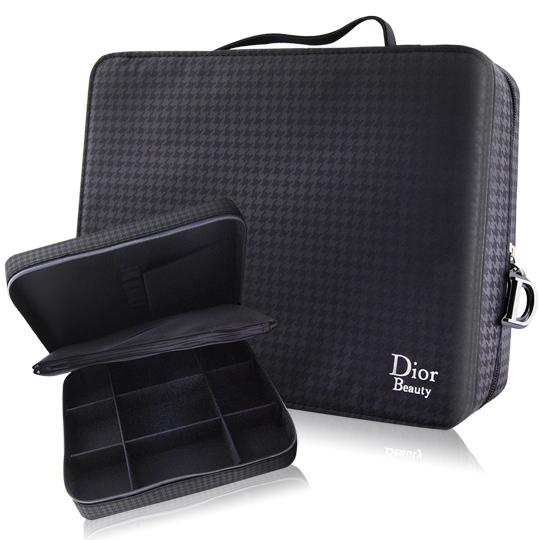 Dior 迪奧 黑色千鳥格化妝箱 (29.5x22.5x8cm)
