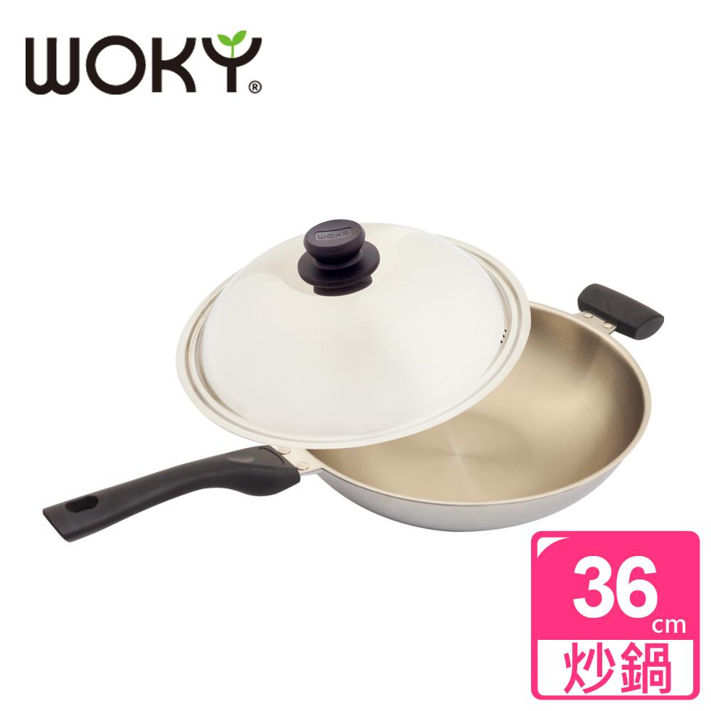 【WOKY沃廚】玫瑰金專利不鏽鋼炒鍋36cm(贈OK智慧感溫鍋鏟)
