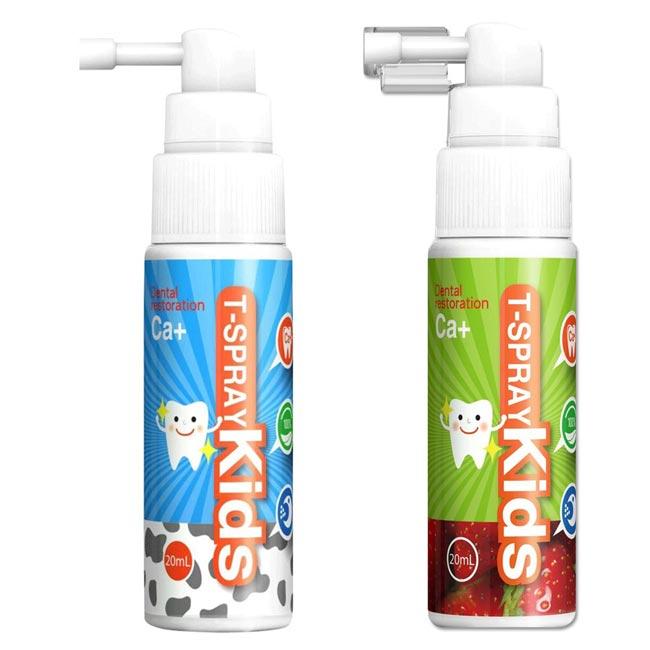 T-Spray 齒妍堂 兒童含鈣健齒口腔噴霧 (牛奶+草莓口味) 2 入組~特