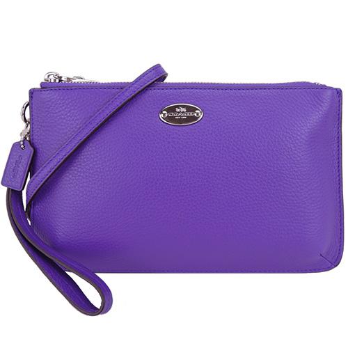 COACH 圓牌馬車LOGO 荔枝紋皮革雙層斜背包(紫)