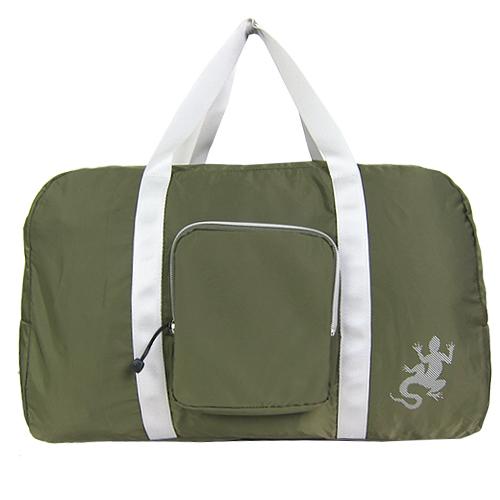 【精品週】agnesb.蜥蜴輕量銀邊雙槓旅行袋(墨綠/附小袋)