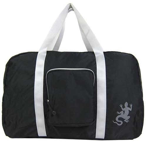 【精品週】agnesb.蜥蜴輕量銀邊雙槓旅行袋(黑/附小袋)