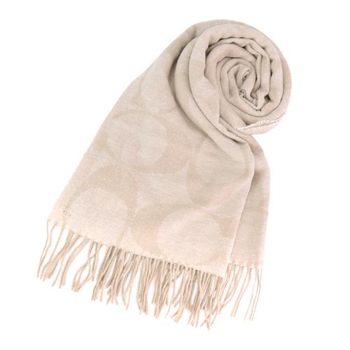 【送暖特輯】COACH 經典LOGO流蘇羊毛圍巾(米)