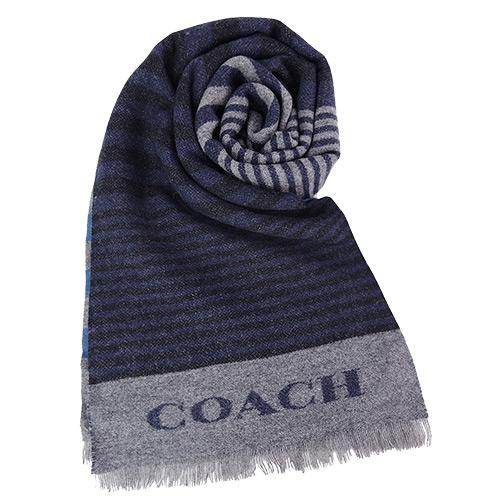 【秋冬新品】COACH 不規則雙色條紋羊毛圍巾(黑藍)