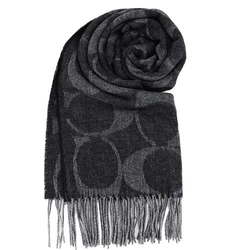【送暖特輯】COACH 經典LOGO流蘇羊毛圍巾(黑灰)