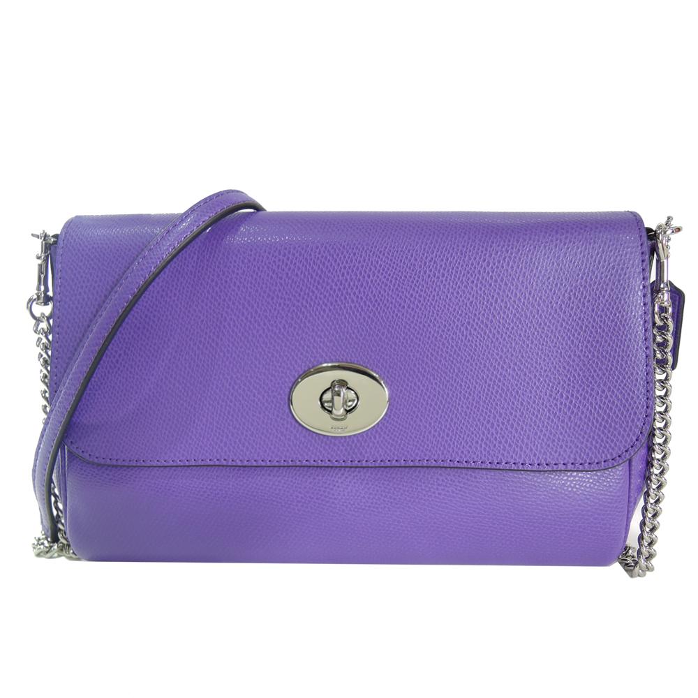 【夏日折扣季】COACH 素色防刮皮革轉扣兩用包(紫)