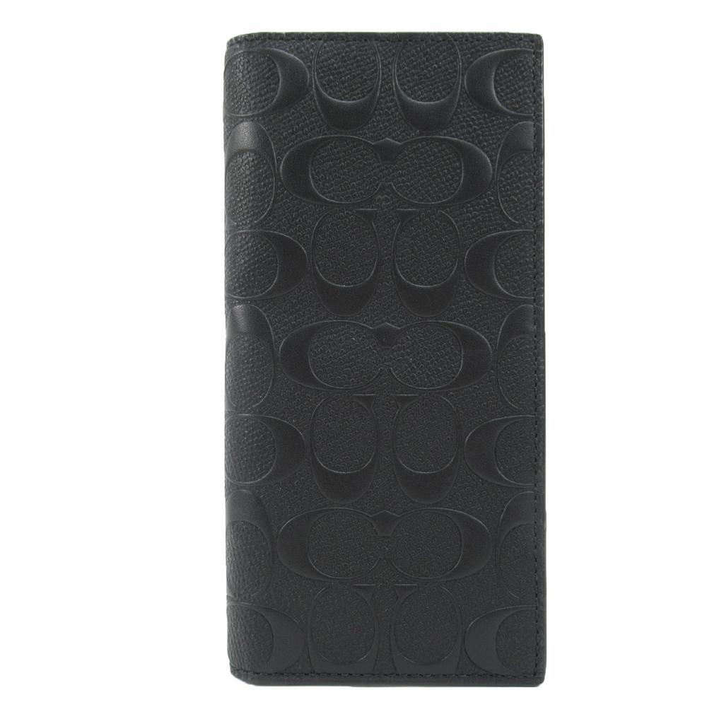 【男仕時尚】COACH 滿版浮雕 C LOGO兩折長夾(黑)