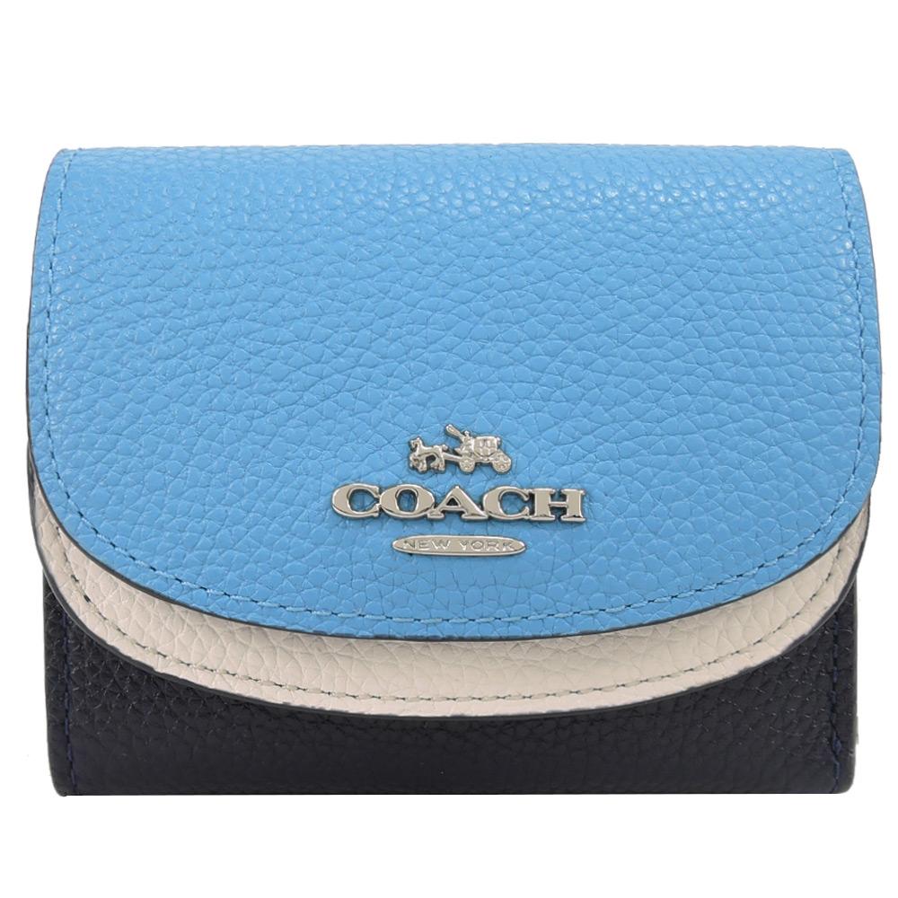 【夏日折扣季】COACH 新款雙翻蓋三折荔枝皮短夾(白藍)