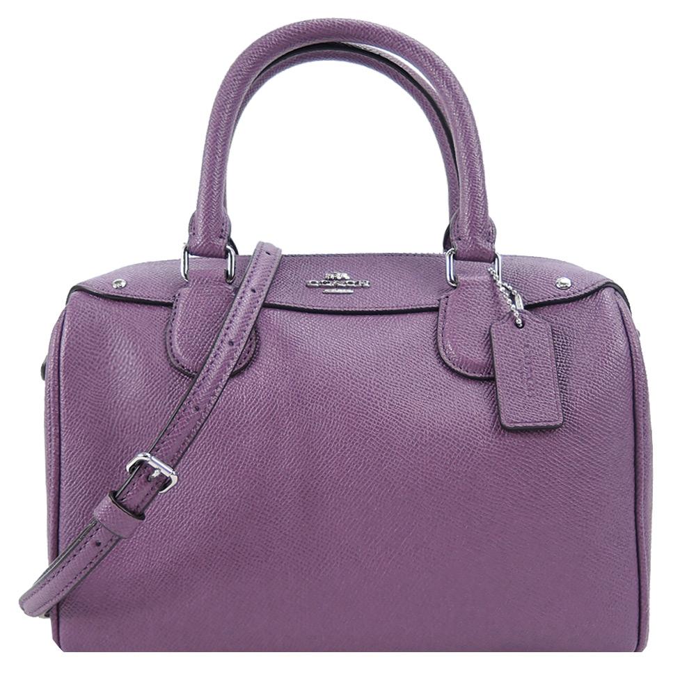 【秋冬新品】COACH 馬車素面皮革手提/斜背波士頓包(薰衣紫)