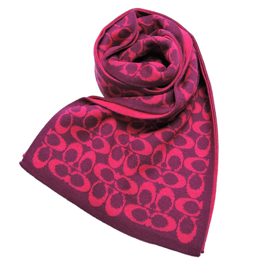 【送暖特輯】COACH 雙色配LOGO圍巾(桃紫)