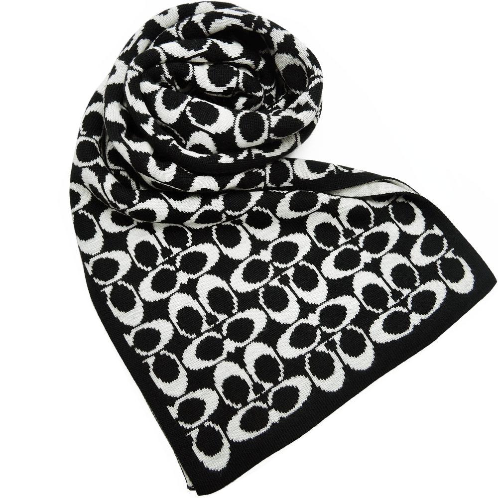 【送暖特輯】COACH 雙色配LOGO圍巾(黑白)