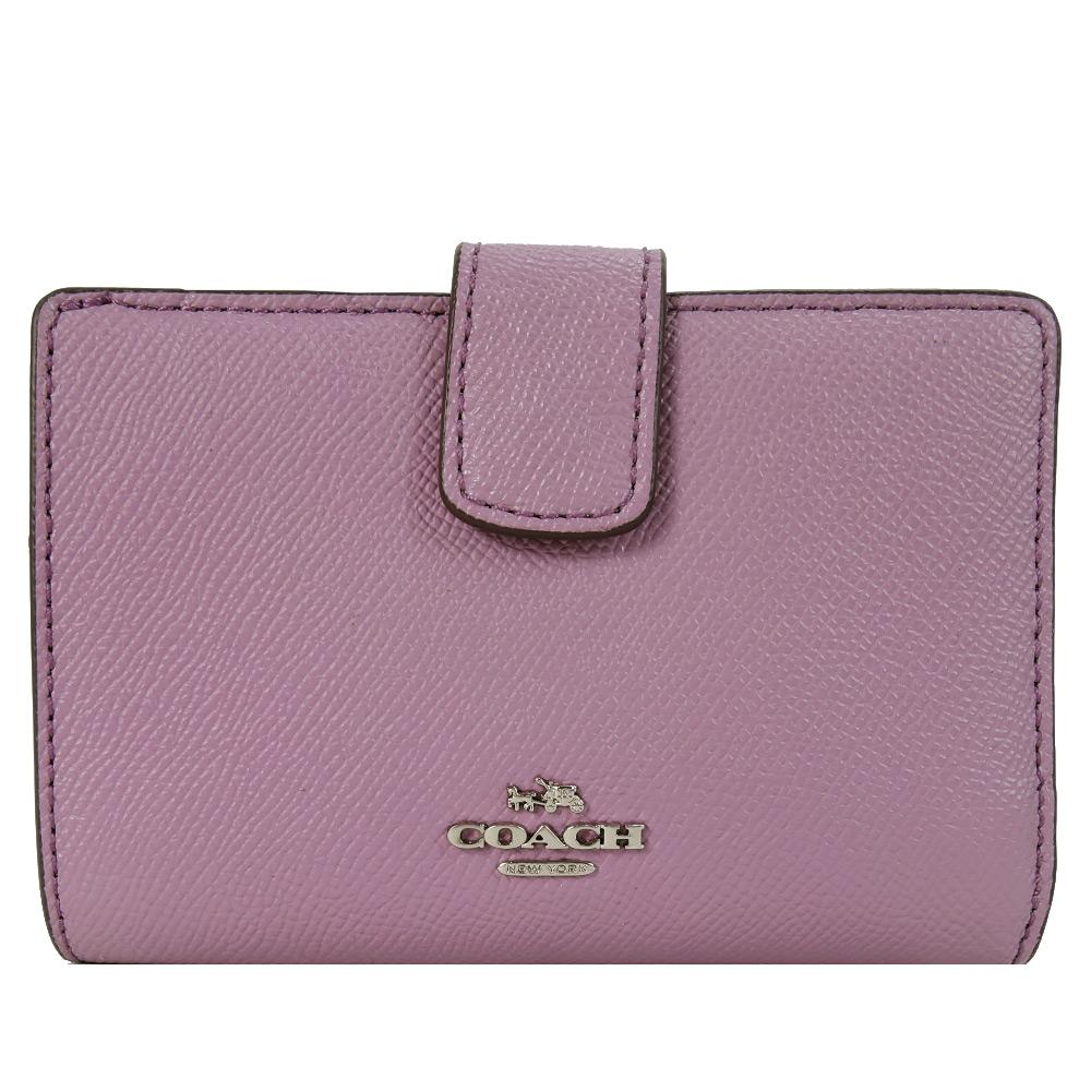 COACH 馬車logo防刮皮革拉鍊袋中夾(粉紫)