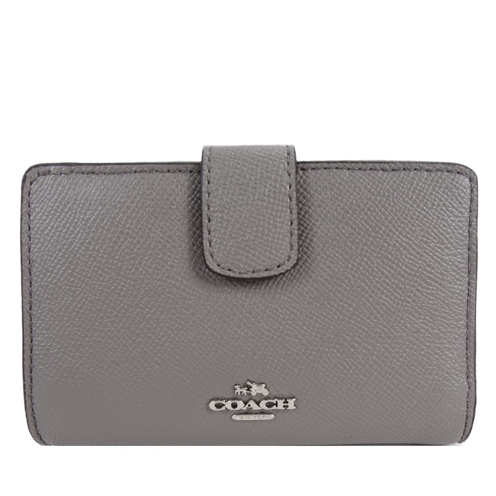 COACH 馬車logo防刮皮革拉鍊袋中夾(灰)