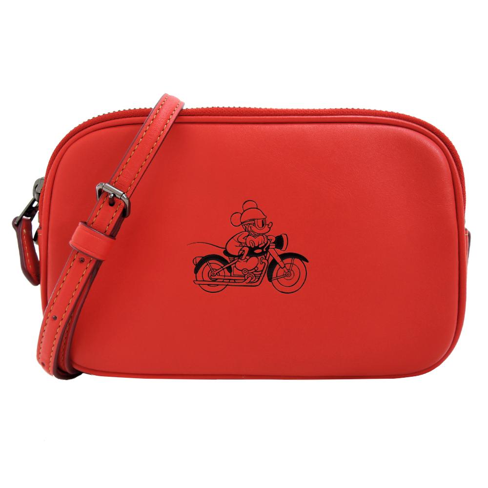 【聯名限定】COACHXDISNEY聯名款米奇雙拉鍊斜背包(紅)
