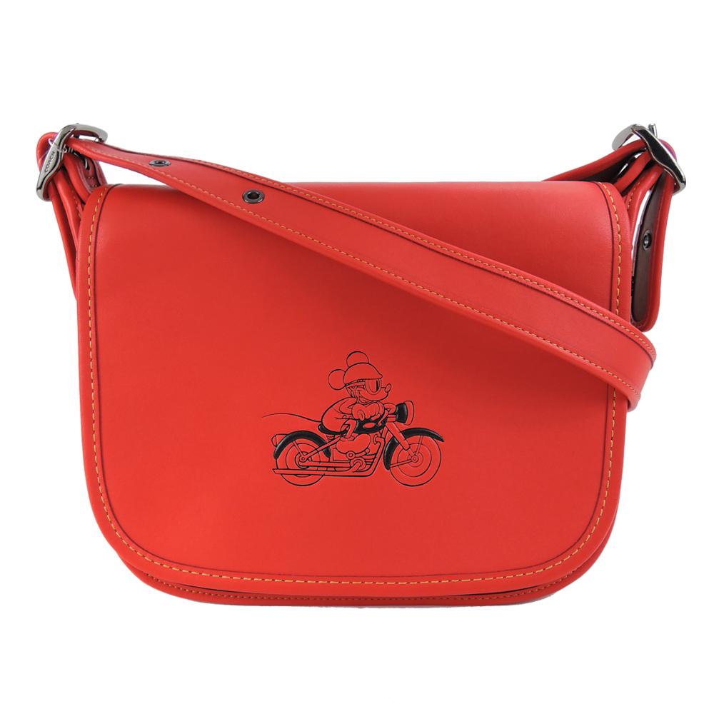 【聯名限定】COACHXDISNEY聯名款米奇皮革翻蓋斜背包(紅)