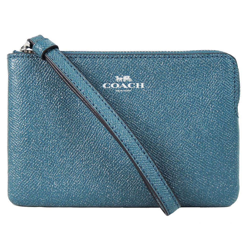 【新春大促】COACH 馬車珠光防刮皮革L拉鍊手拿包(藍綠)