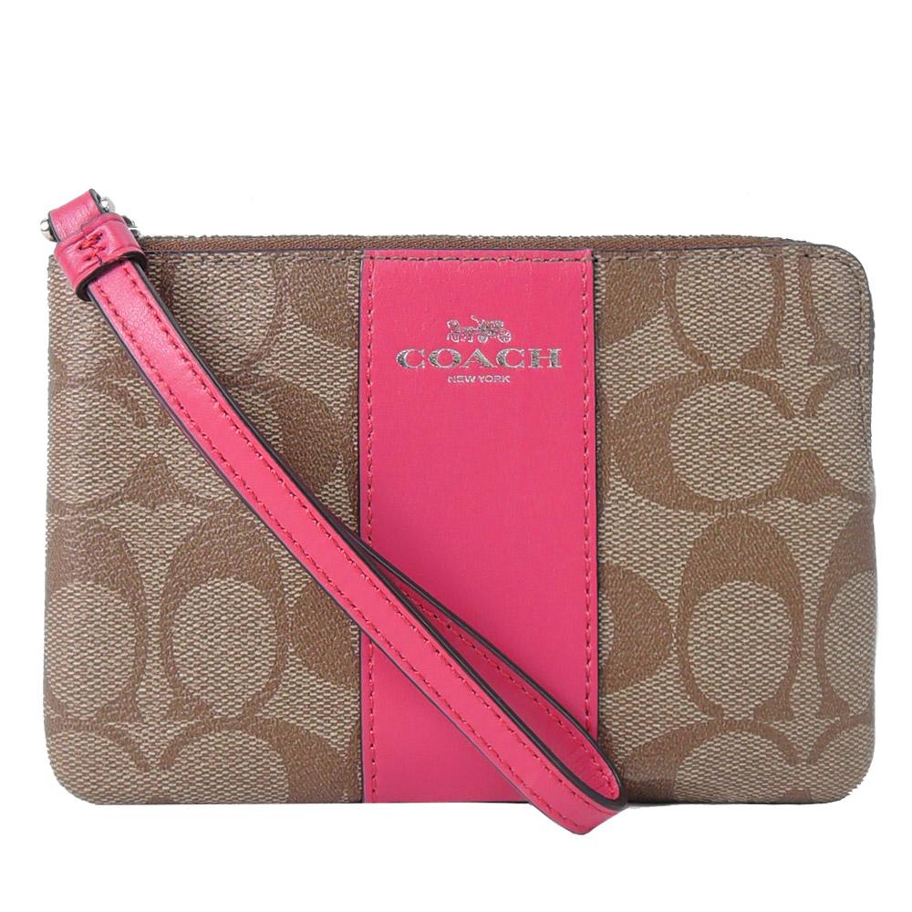 【獨享價】COACH 新款燙印馬車 PVC 直紋拉鍊手拿包(卡其桃紅)