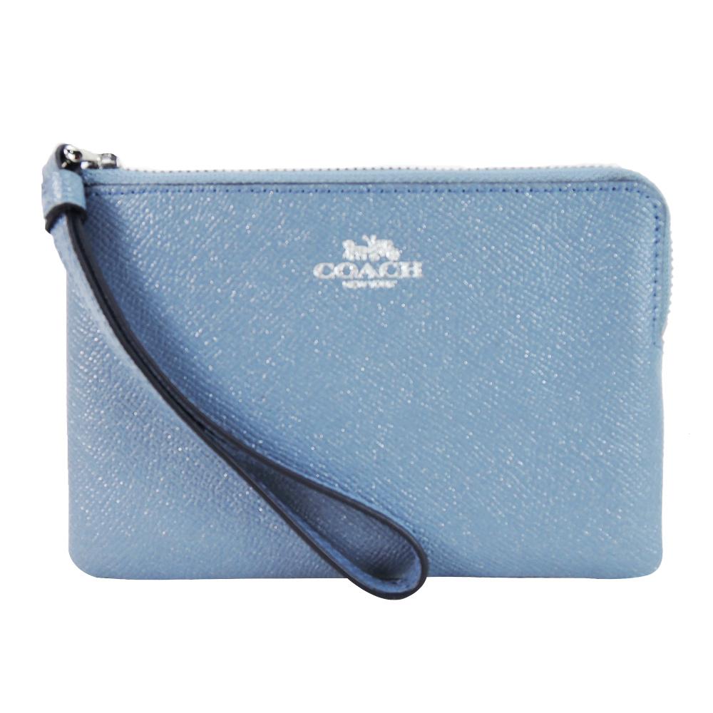 【獨享價】COACH 馬車珠光防刮皮革L拉鍊手拿包(灰藍)
