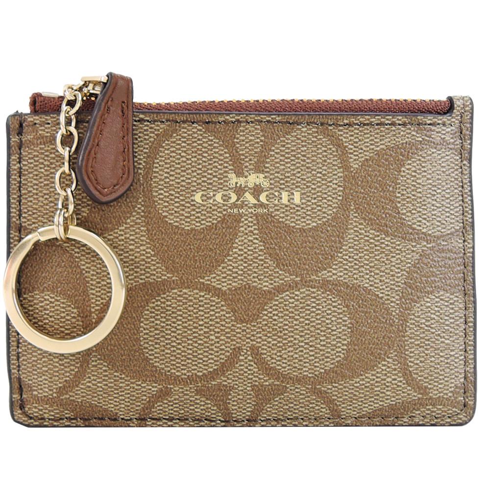 【寵愛女人節】COACH LOGO防刮皮革鑰匙零錢包(卡其焦糖)