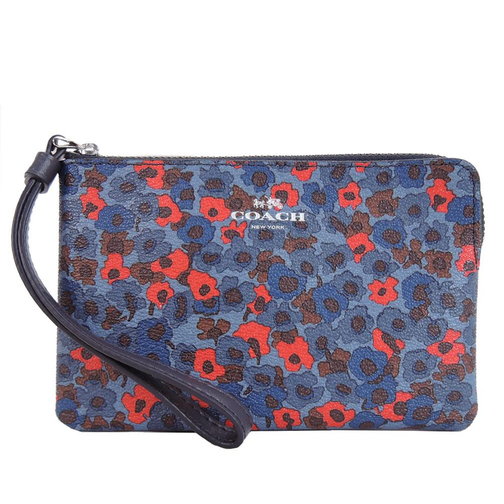 【寵愛女人節】COACH 馬車燙金不規則花朵防刮手拿包(藍X紅)