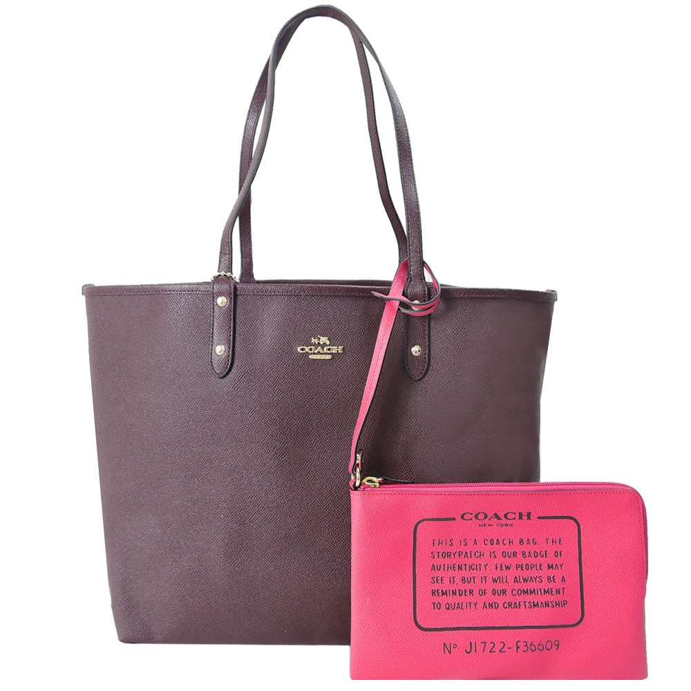 【寵愛女人節】COACH雙色兩用防刮皮革托特包/附手拿包(咖紅/桃)